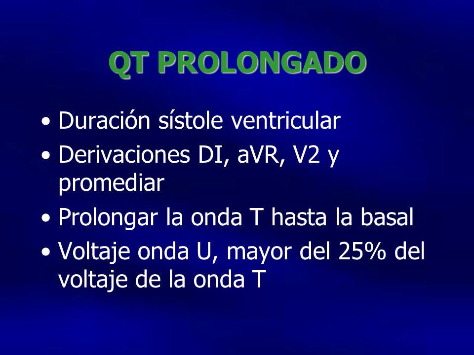 QT PROLONGADO Duración sístole ventricular Derivaciones DI, aVR, V2 y promediar Prolongar la onda T hasta la basal Voltaje onda U, mayor del 25% del voltaje de la onda T