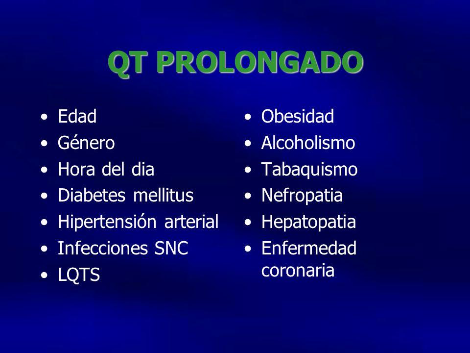 QT PROLONGADO Edad Género Hora del dia Diabetes mellitus Hipertensión arterial Infecciones SNC LQTS Obesidad Alcoholismo Tabaquismo Nefropatia Hepatopatia Enfermedad coronaria