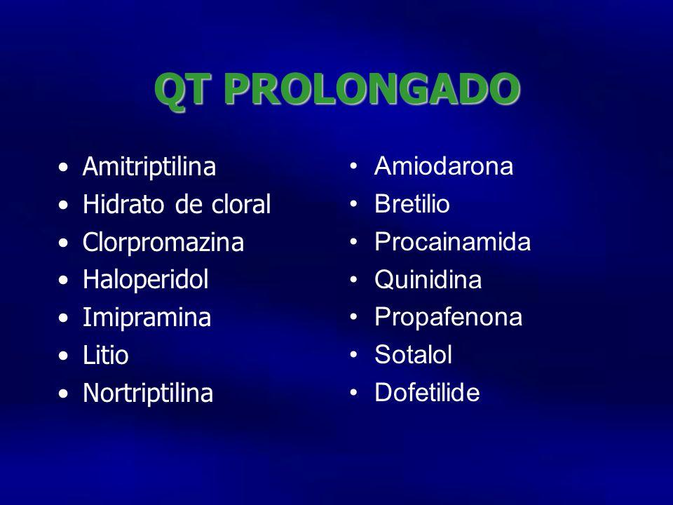 QT PROLONGADO Amitriptilina Hidrato de cloral Clorpromazina Haloperidol Imipramina Litio Nortriptilina Amiodarona Bretilio Procainamida Quinidina Prop
