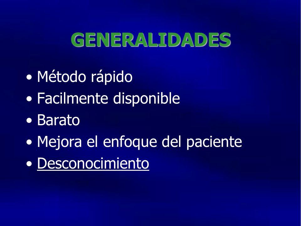 GENERALIDADES Método rápido Facilmente disponible Barato Mejora el enfoque del paciente Desconocimiento