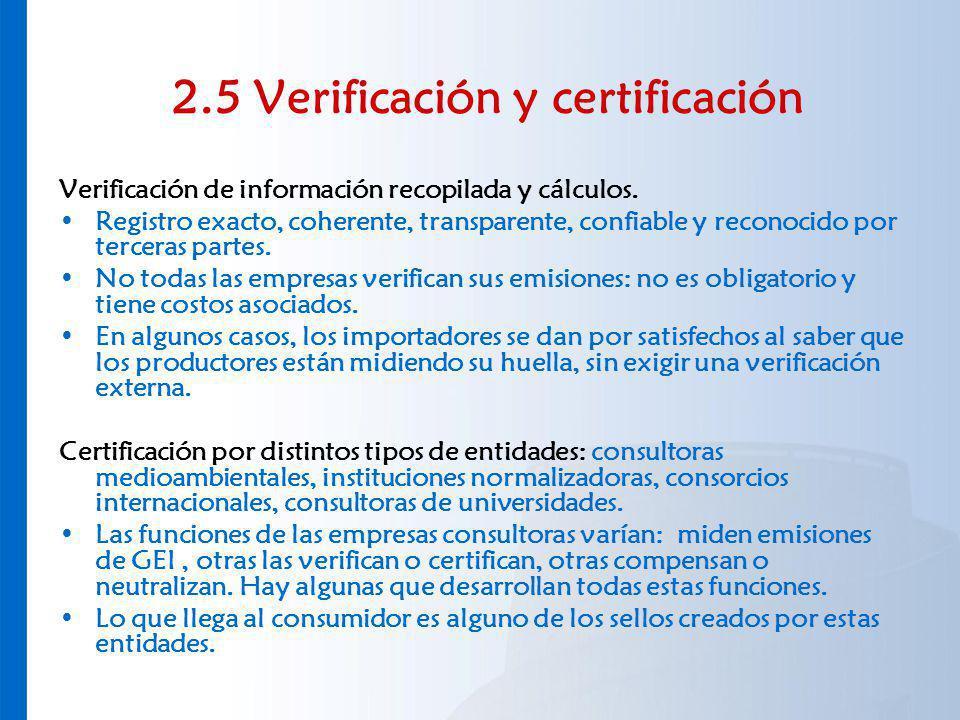 2.5 Verificación y certificación Verificación de información recopilada y cálculos. Registro exacto, coherente, transparente, confiable y reconocido p