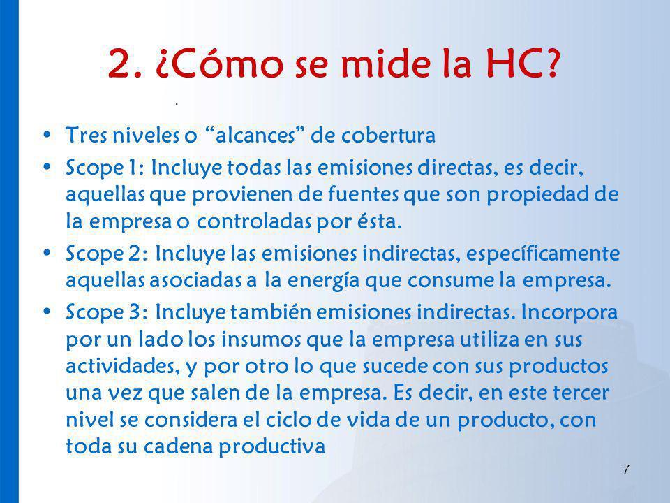 2. ¿Cómo se mide la HC? Tres niveles o alcances de cobertura Scope 1: Incluye todas las emisiones directas, es decir, aquellas que provienen de fuente