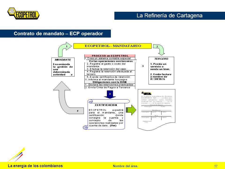 La energía de los colombianos Nombre del área. 17 La Refinería de Cartagena Contrato de mandato – ECP operador