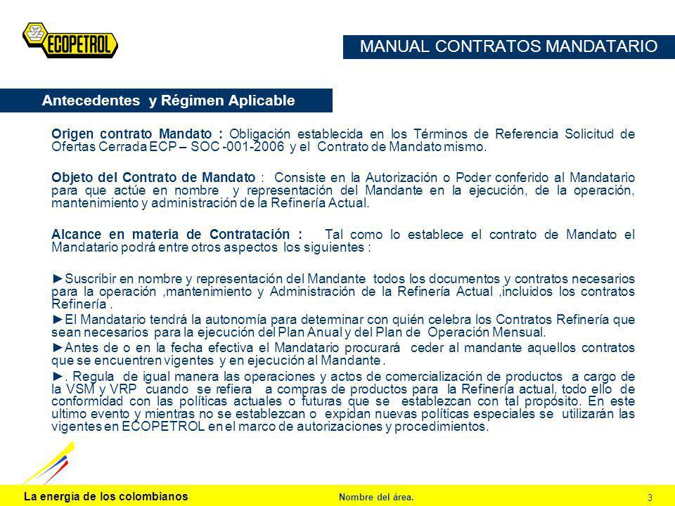 La energía de los colombianos Nombre del área. 3 MANUAL CONTRATOS MANDATARIO Origen contrato Mandato : Obligación establecida en los Términos de Refer
