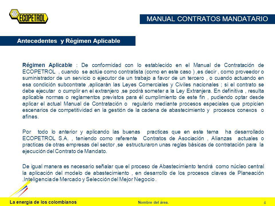 La energía de los colombianos Nombre del área. 4 MANUAL CONTRATOS MANDATARIO Régimen Aplicable : De conformidad con lo establecido en el Manual de Con