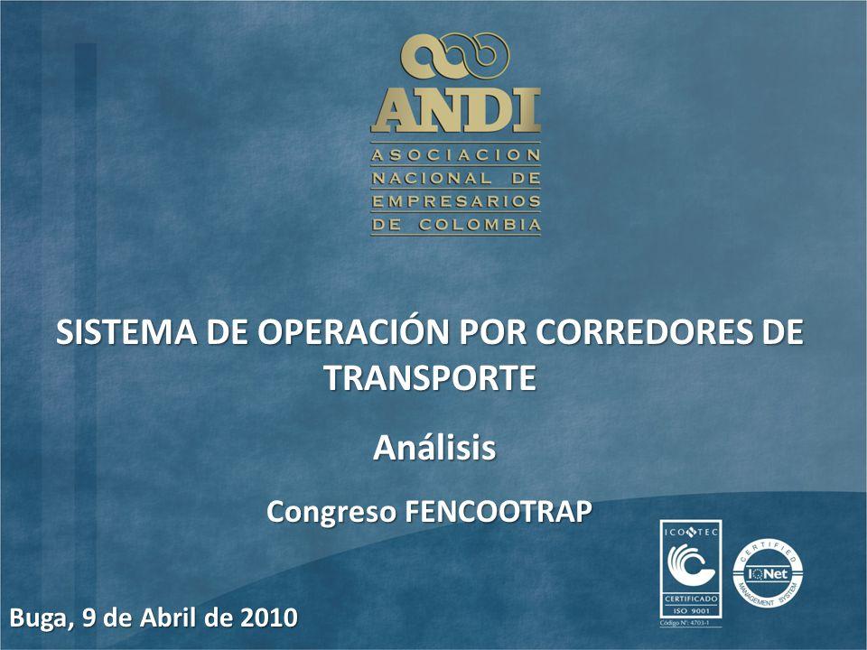 SISTEMA DE OPERACIÓN POR CORREDORES DE TRANSPORTE Análisis Análisis Congreso FENCOOTRAP Buga, 9 de Abril de 2010