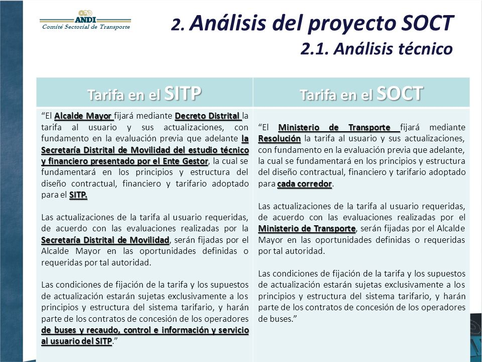 Comité Sectorial de Transporte 2. Análisis del proyecto SOCT 2.1. Análisis técnico Tarifa en el SITP Tarifa en el SOCT Alcalde Mayor Decreto Distrital