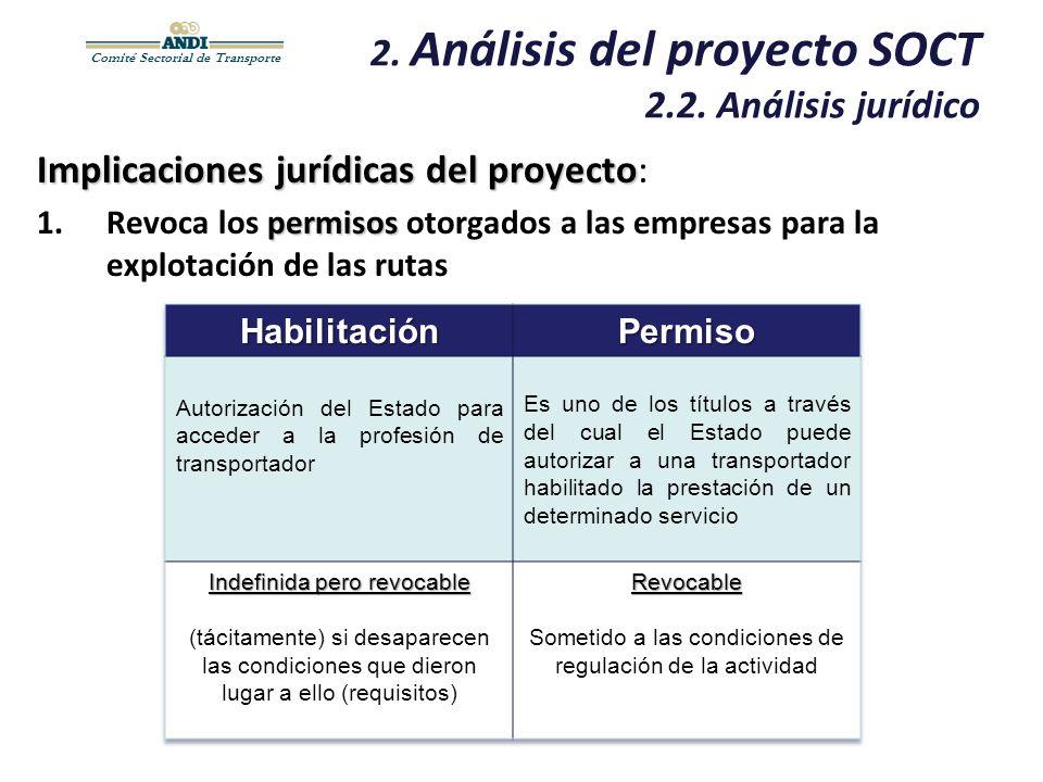 Comité Sectorial de Transporte 2. Análisis del proyecto SOCT 2.2. Análisis jurídico Implicaciones jurídicas del proyecto Implicaciones jurídicas del p