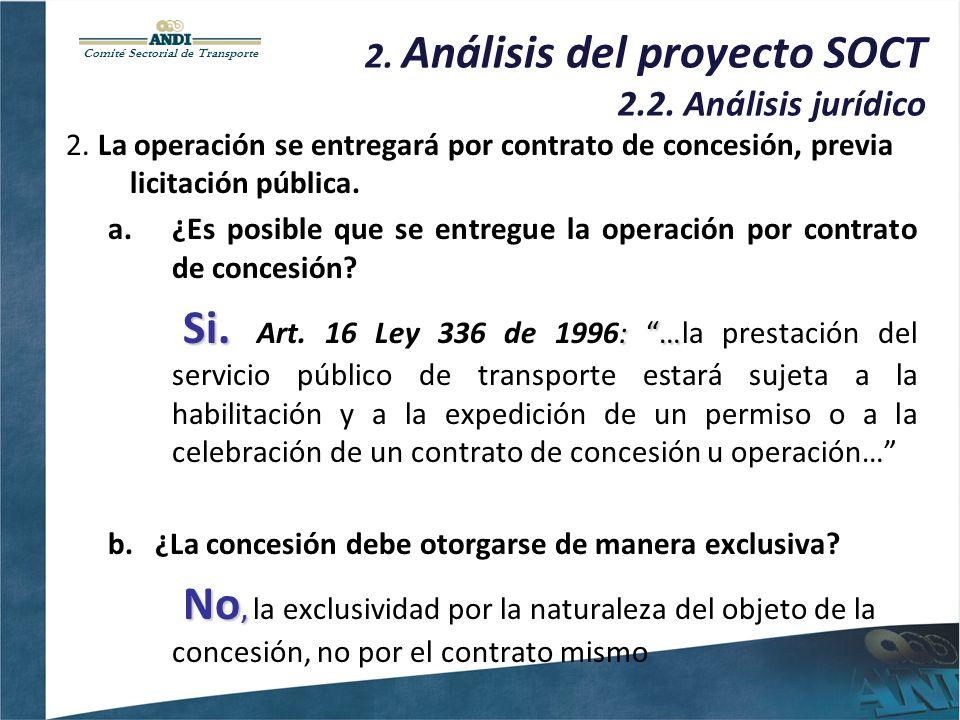 Comité Sectorial de Transporte 2. Análisis del proyecto SOCT 2.2. Análisis jurídico 2. La operación se entregará por contrato de concesión, previa lic