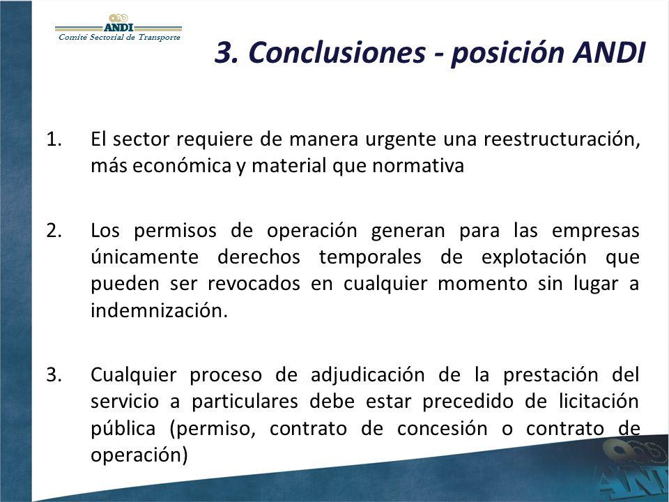 Comité Sectorial de Transporte 3. Conclusiones - posición ANDI 1.El sector requiere de manera urgente una reestructuración, más económica y material q