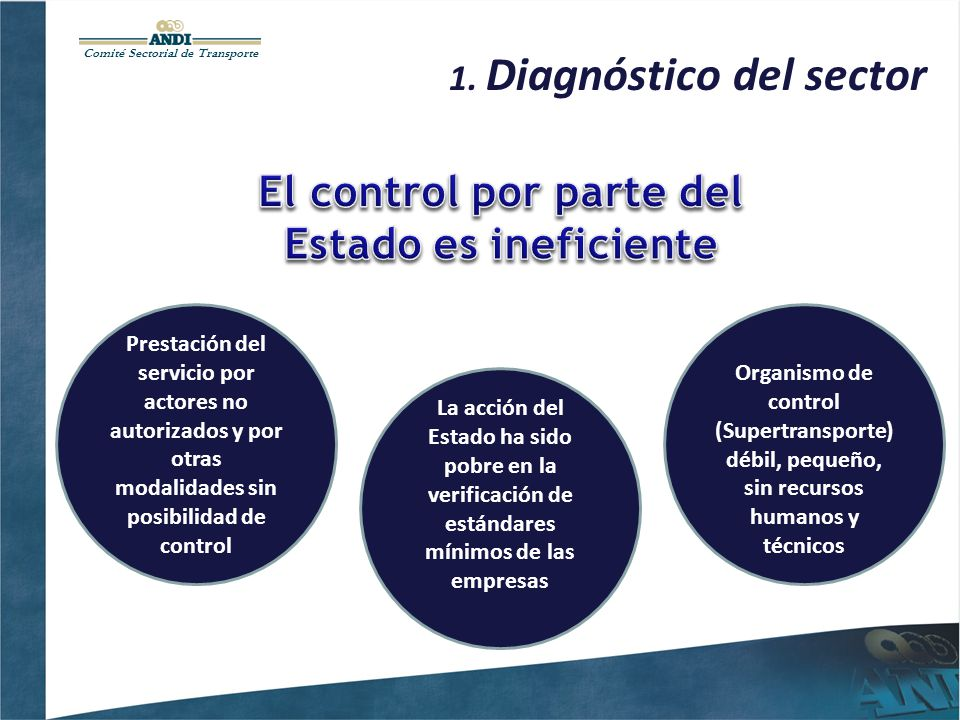 Comité Sectorial de Transporte 1. Diagnóstico del sector Prestación del servicio por actores no autorizados y por otras modalidades sin posibilidad de