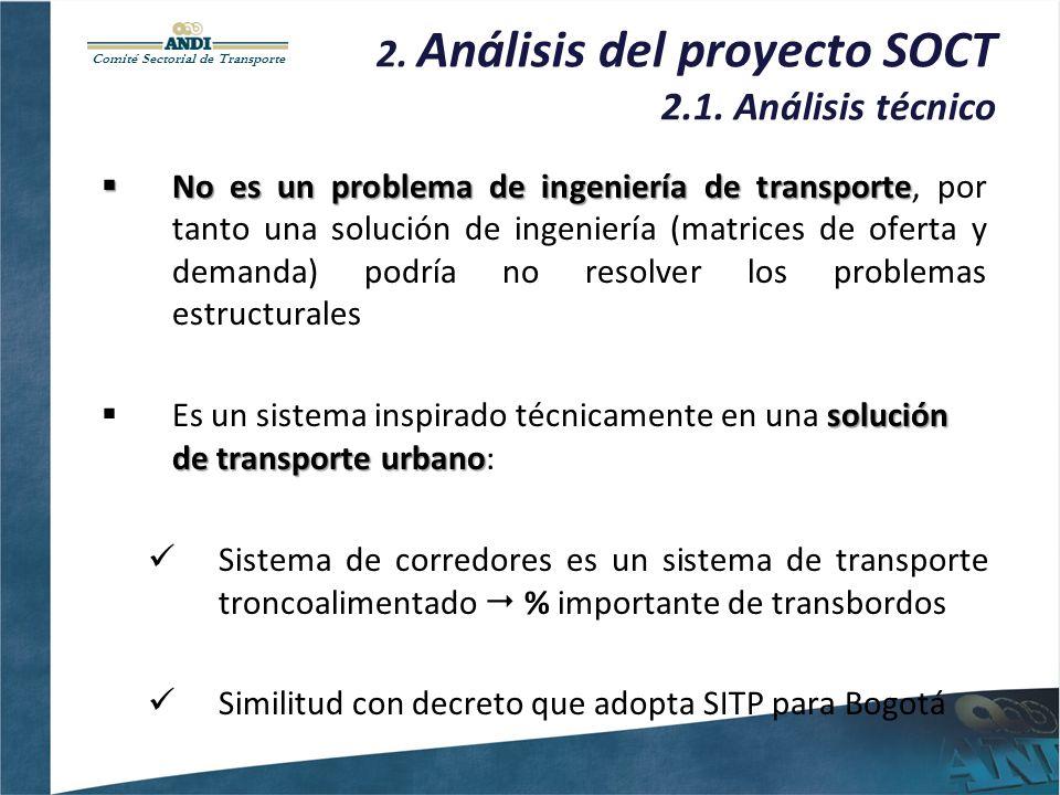 Comité Sectorial de Transporte 2. Análisis del proyecto SOCT 2.1. Análisis técnico Noes un problema de ingeniería de transporte No es un problema de i