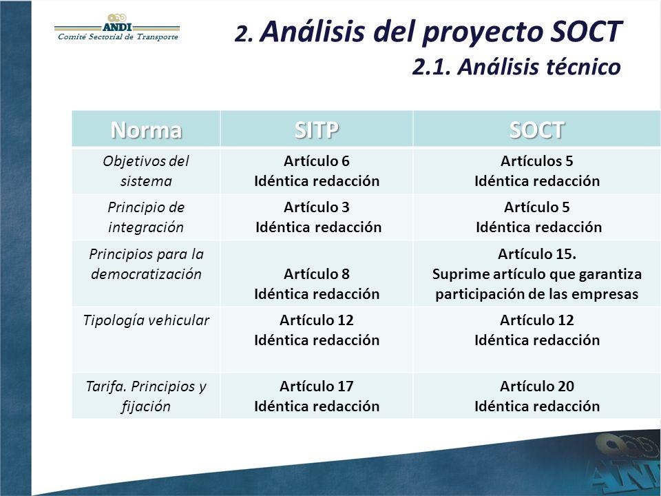 Comité Sectorial de Transporte 2. Análisis del proyecto SOCT 2.1. Análisis técnicoNormaSITPSOCT Objetivos del sistema Artículo 6 Idéntica redacción Ar