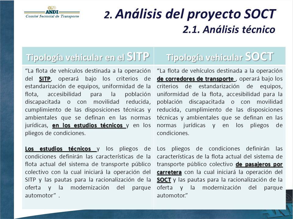Comité Sectorial de Transporte 2. Análisis del proyecto SOCT 2.1. Análisis técnico Tipología vehicular en el SITP Tipología vehicular SOCT SITP en los
