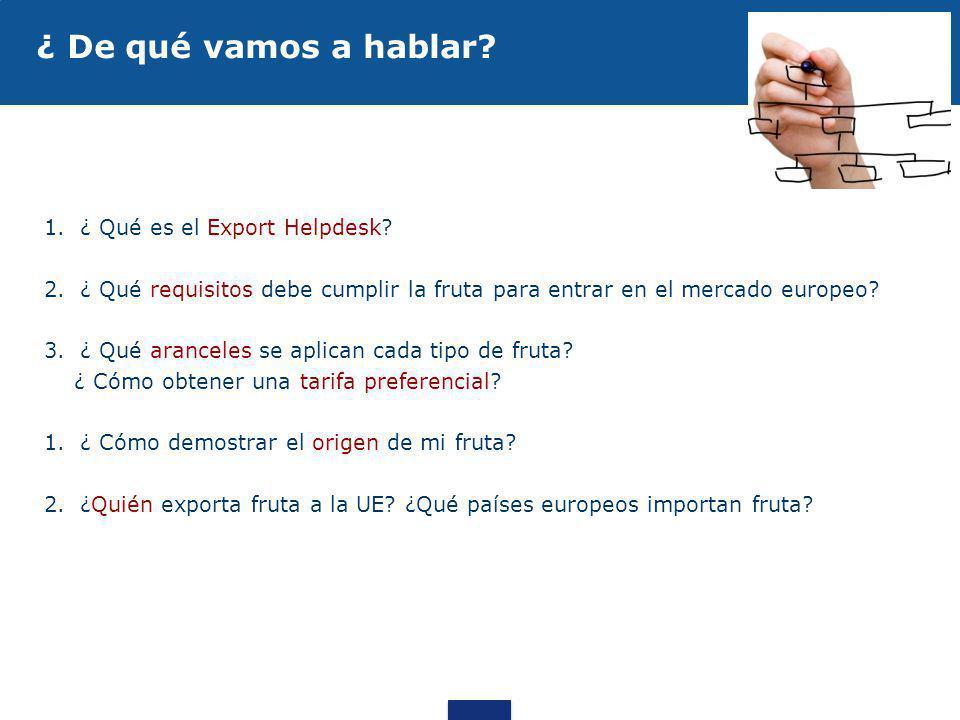 1.¿ Qué es el Export Helpdesk? 2.¿ Qué requisitos debe cumplir la fruta para entrar en el mercado europeo? 3.¿ Qué aranceles se aplican cada tipo de f