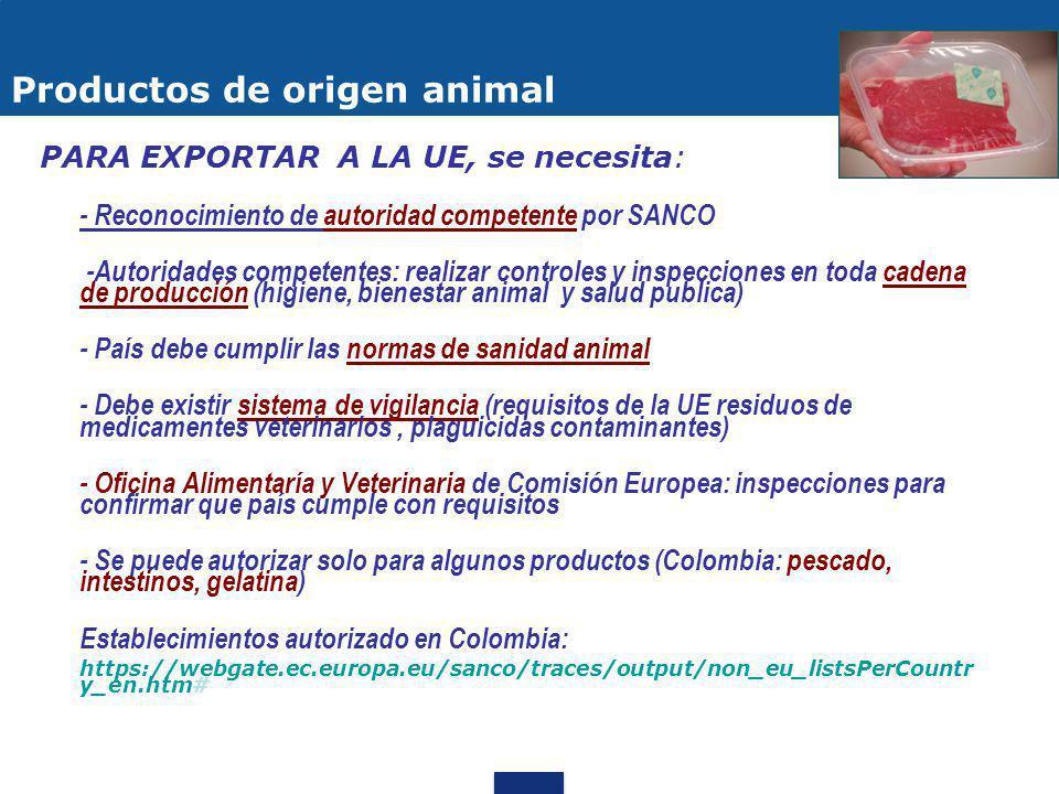 FRUTAS Y HORTALIZAS PROCESADAS CIFRAS: Importaciones UE 2011:US$ 25.545 millones Exportaciones Colombia: US$ 8 millones Colombia 3er lugar Antes Acuerdo: arancel base 0 - 26% y otros productos arancel de tipo mixto Con Acuerdo: 92% libres de arancel, y el 8% con arancel mixto se elimina la parte del arancel tipo ad valorem MERCADO UE Valor Agregado: pulpa, deshidratados, concentrados, liofilizados, etc Productos saludables y amigables con el medio ambiente, certificaciones sobre comercio justo y orgánicas Requisitos sanitarios y fitosanitarios / Etiquetado / Certificaciones Voluntarias RdO: preparaciones 50% originarias