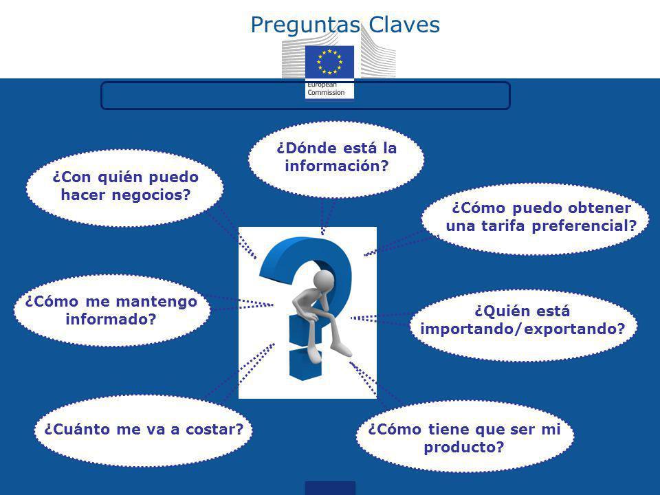Preguntas Claves ¿Dónde está la información? ¿Cómo tiene que ser mi producto? ¿Cuánto me va a costar? ¿Con quién puedo hacer negocios? ¿Quién está imp