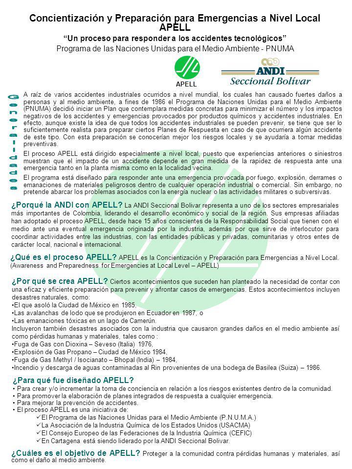 Concientización y Preparación para Emergencias a Nivel Local APELL Un proceso para responder a los accidentes tecnológicos Programa de las Naciones Un