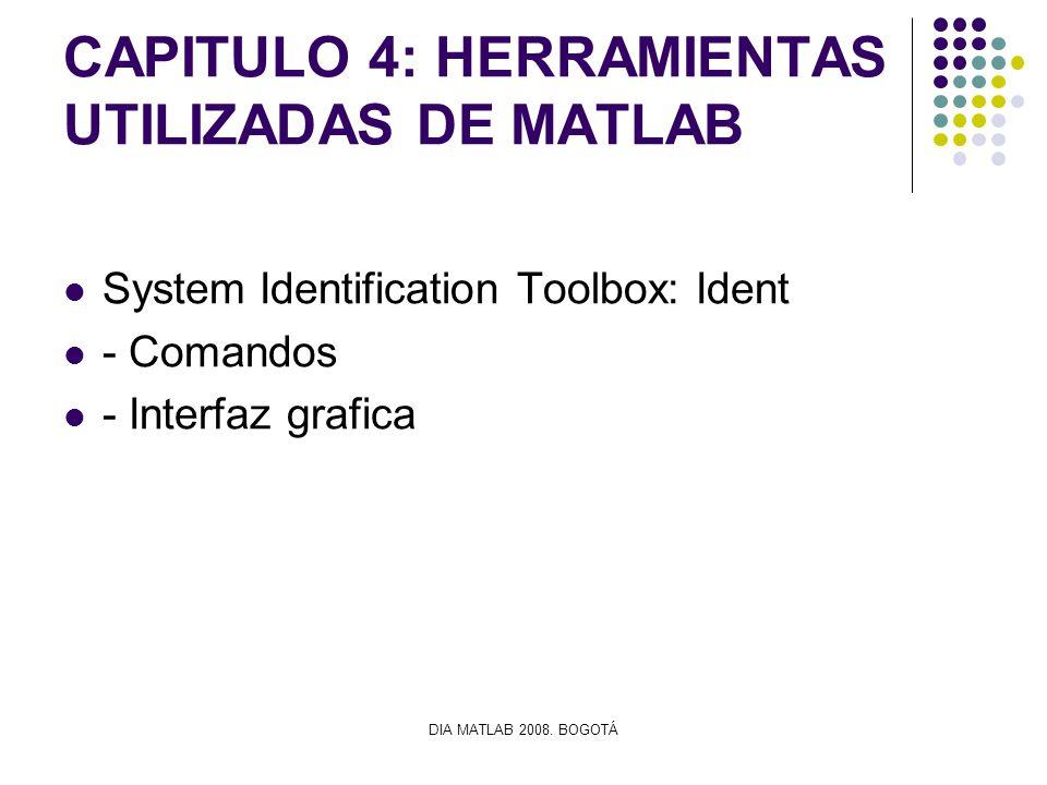 DIA MATLAB 2008. BOGOTÁ CAPITULO 4: HERRAMIENTAS UTILIZADAS DE MATLAB System Identification Toolbox: Ident - Comandos - Interfaz grafica