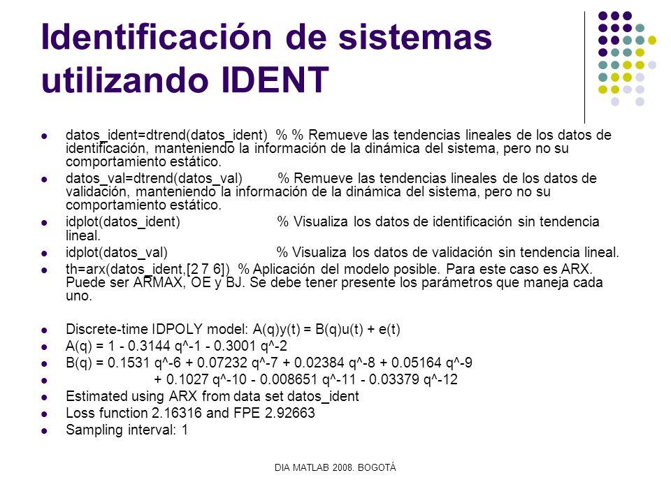 DIA MATLAB 2008. BOGOTÁ Identificación de sistemas utilizando IDENT datos_ident=dtrend(datos_ident) % % Remueve las tendencias lineales de los datos d