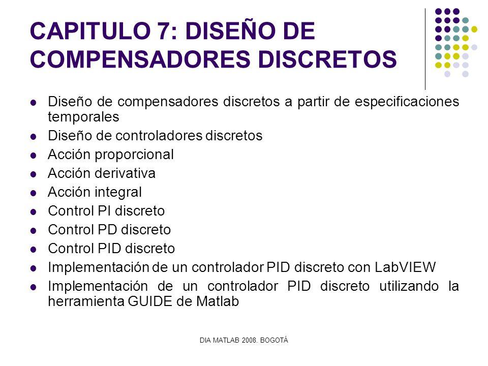DIA MATLAB 2008. BOGOTÁ CAPITULO 7: DISEÑO DE COMPENSADORES DISCRETOS Diseño de compensadores discretos a partir de especificaciones temporales Diseño