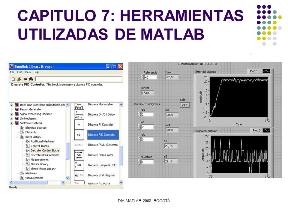 DIA MATLAB 2008. BOGOTÁ CAPITULO 7: HERRAMIENTAS UTILIZADAS DE MATLAB