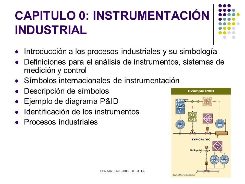 DIA MATLAB 2008. BOGOTÁ CAPITULO 0: INSTRUMENTACIÓN INDUSTRIAL Introducción a los procesos industriales y su simbología Definiciones para el análisis