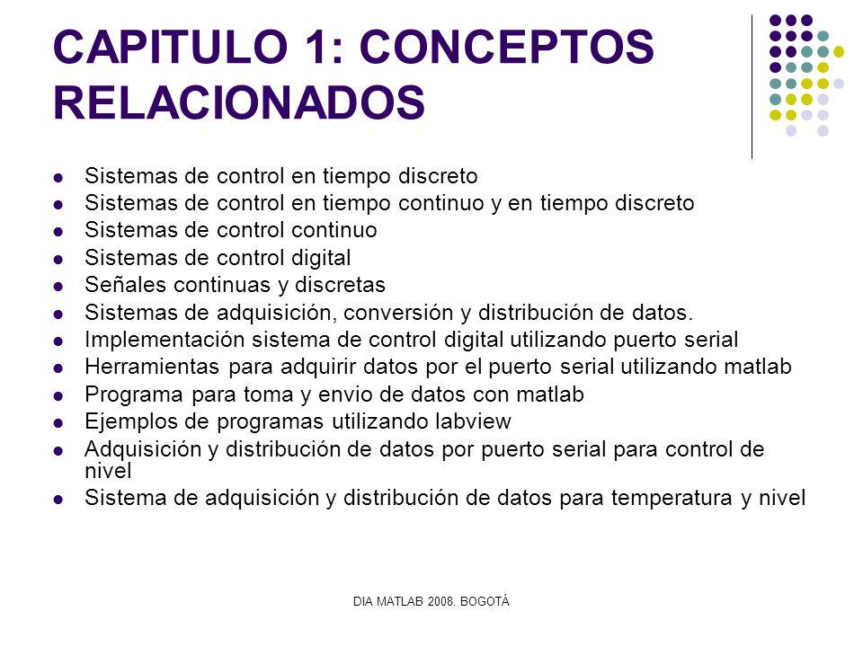 DIA MATLAB 2008. BOGOTÁ CAPITULO 1: CONCEPTOS RELACIONADOS Sistemas de control en tiempo discreto Sistemas de control en tiempo continuo y en tiempo d