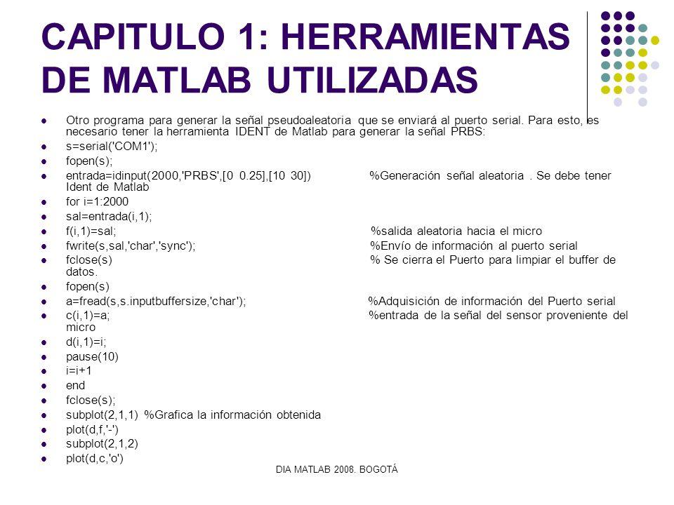 DIA MATLAB 2008. BOGOTÁ CAPITULO 1: HERRAMIENTAS DE MATLAB UTILIZADAS Otro programa para generar la señal pseudoaleatoria que se enviará al puerto ser
