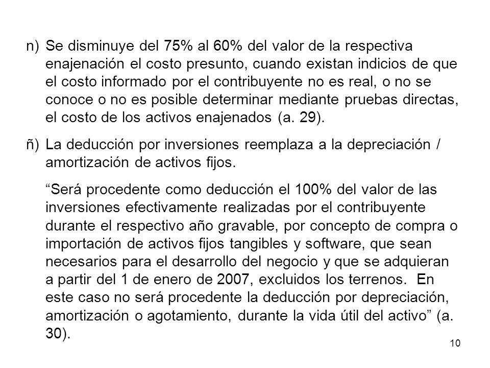 10 n)Se disminuye del 75% al 60% del valor de la respectiva enajenación el costo presunto, cuando existan indicios de que el costo informado por el co