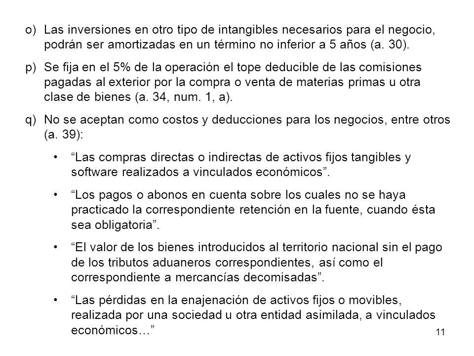 11 o)Las inversiones en otro tipo de intangibles necesarios para el negocio, podrán ser amortizadas en un término no inferior a 5 años (a. 30). p)Se f