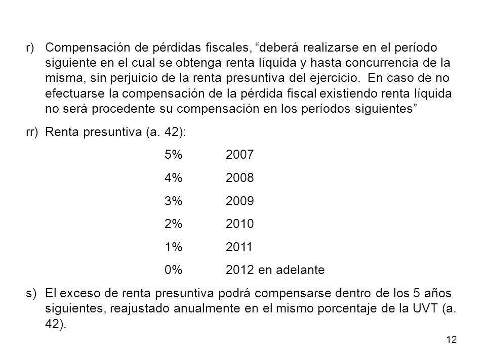 12 r)Compensación de pérdidas fiscales, deberá realizarse en el período siguiente en el cual se obtenga renta líquida y hasta concurrencia de la misma