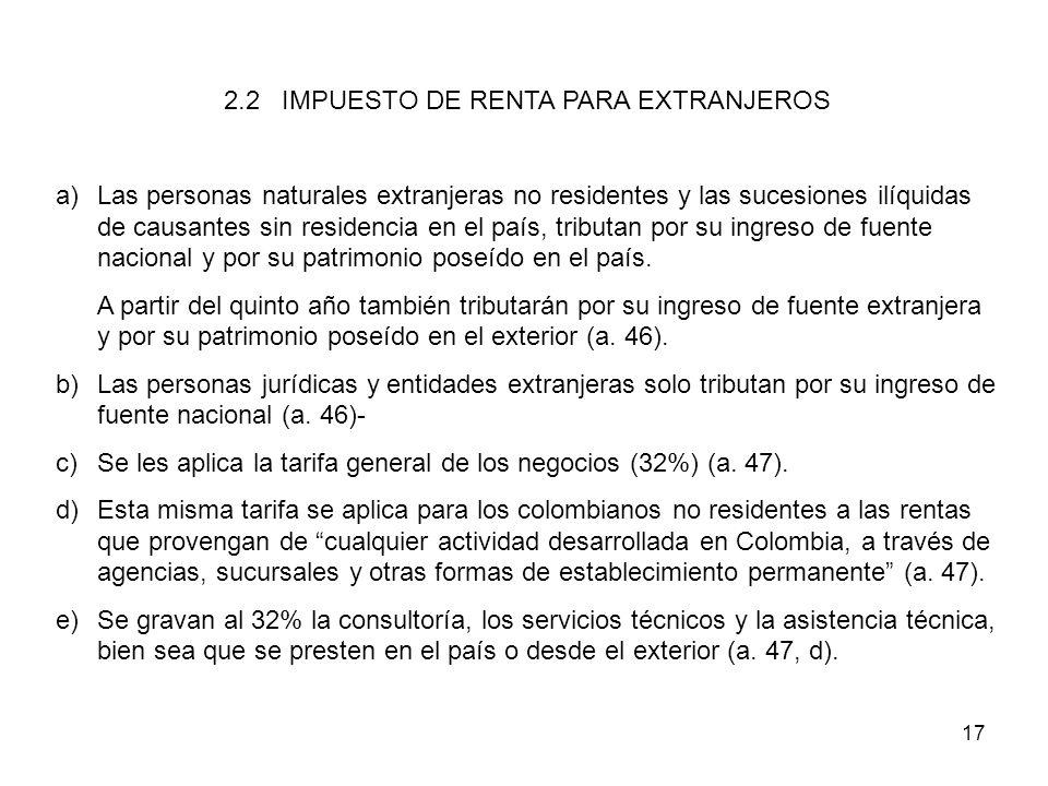 17 2.2 IMPUESTO DE RENTA PARA EXTRANJEROS a)Las personas naturales extranjeras no residentes y las sucesiones ilíquidas de causantes sin residencia en