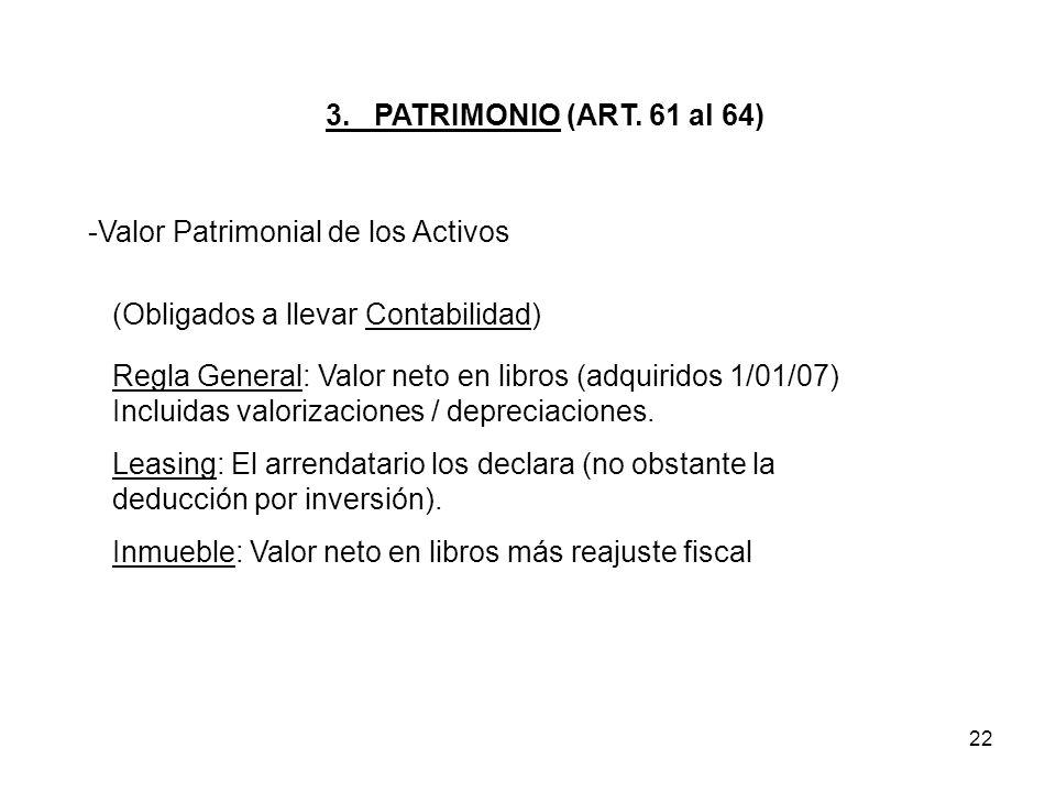 22 3. PATRIMONIO (ART. 61 al 64) -Valor Patrimonial de los Activos Regla General: Valor neto en libros (adquiridos 1/01/07) Incluidas valorizaciones /