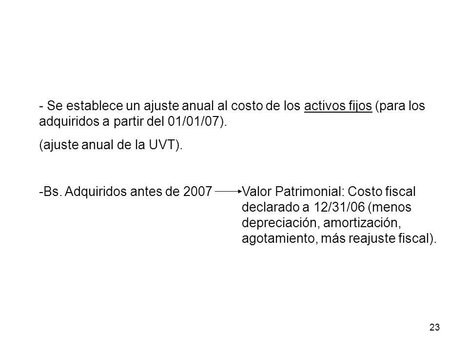 23 - Se establece un ajuste anual al costo de los activos fijos (para los adquiridos a partir del 01/01/07). (ajuste anual de la UVT). -Bs. Adquiridos