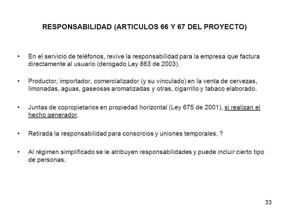 33 RESPONSABILIDAD (ARTICULOS 66 Y 67 DEL PROYECTO) En el servicio de teléfonos, revive la responsabilidad para la empresa que factura directamente al