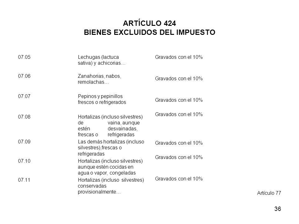 36 ARTÍCULO 424 BIENES EXCLUIDOS DEL IMPUESTO 07.05 Lechugas (lactuca sativa) y achicorias… 07.06 Zanahorias, nabos, remolachas… 07.07 Pepinos y pepin