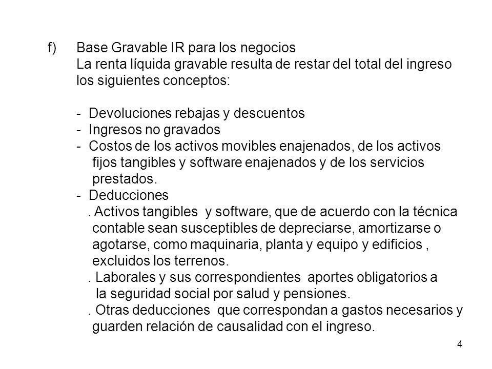 4 f)Base Gravable IR para los negocios La renta líquida gravable resulta de restar del total del ingreso los siguientes conceptos: - Devoluciones reba