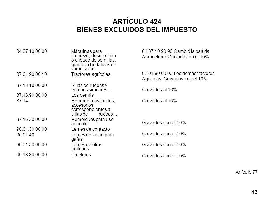 46 ARTÍCULO 424 BIENES EXCLUIDOS DEL IMPUESTO 84.37.10.00.00 Máquinas para limpieza, clasificación o cribado de semillas, granos u hortalizas de vaina