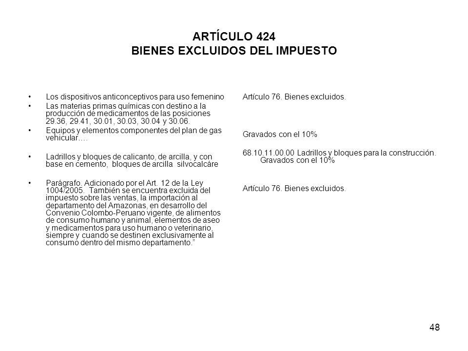 48 ARTÍCULO 424 BIENES EXCLUIDOS DEL IMPUESTO Los dispositivos anticonceptivos para uso femenino Las materias primas químicas con destino a la producc