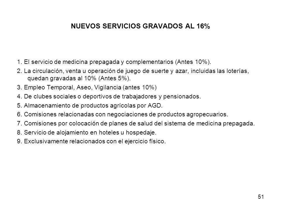 51 NUEVOS SERVICIOS GRAVADOS AL 16% 1. El servicio de medicina prepagada y complementarios (Antes 10%). 2. La circulación, venta u operación de juego