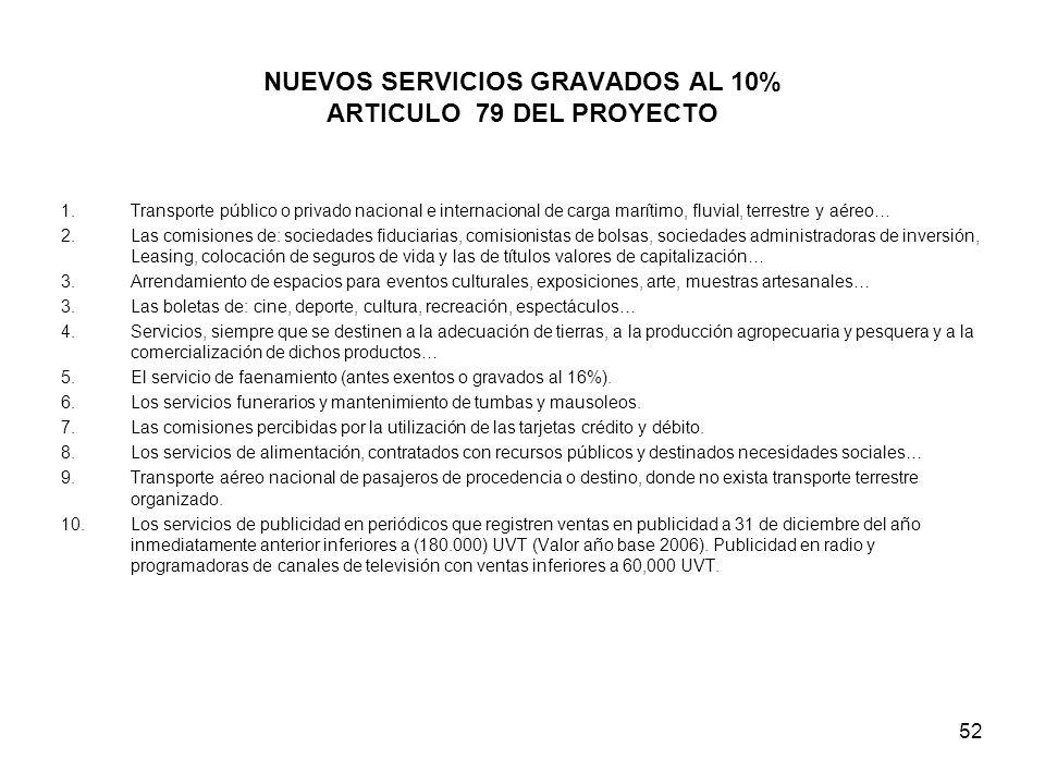 52 NUEVOS SERVICIOS GRAVADOS AL 10% ARTICULO 79 DEL PROYECTO 1.Transporte público o privado nacional e internacional de carga marítimo, fluvial, terre