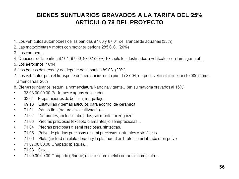 56 BIENES SUNTUARIOS GRAVADOS A LA TARIFA DEL 25% ARTÍCULO 78 DEL PROYECTO 1. Los vehículos automotores de las partidas 87.03 y 87.04 del arancel de a