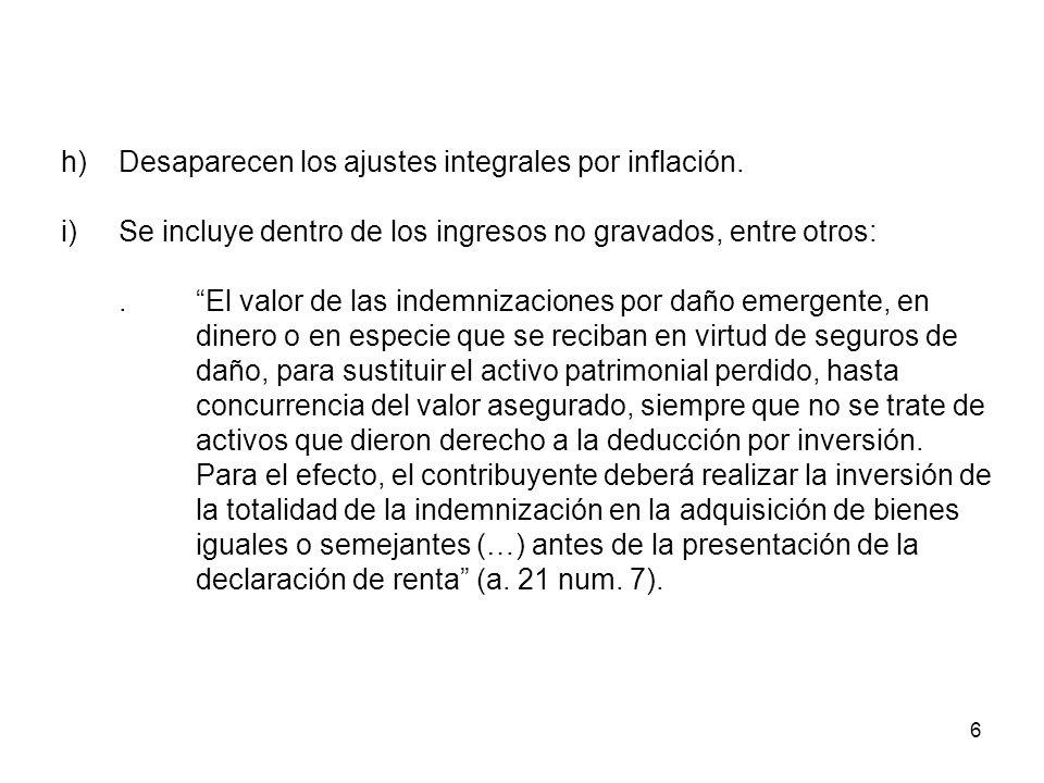 6 h)Desaparecen los ajustes integrales por inflación. i)Se incluye dentro de los ingresos no gravados, entre otros:.El valor de las indemnizaciones po