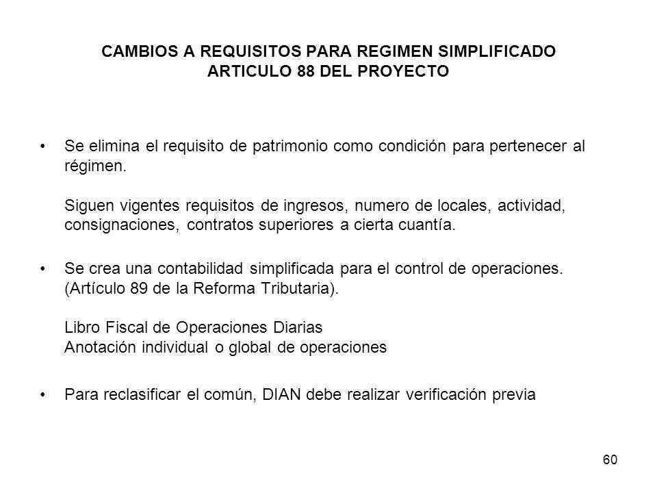 60 CAMBIOS A REQUISITOS PARA REGIMEN SIMPLIFICADO ARTICULO 88 DEL PROYECTO Se elimina el requisito de patrimonio como condición para pertenecer al rég