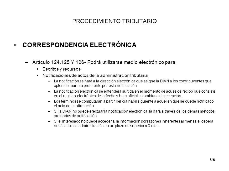 69 PROCEDIMIENTO TRIBUTARIO CORRESPONDENCIA ELECTRÓNICA –Artículo 124,125 Y 126- Podrá utilizarse medio electrónico para: Escritos y recursos Notifica