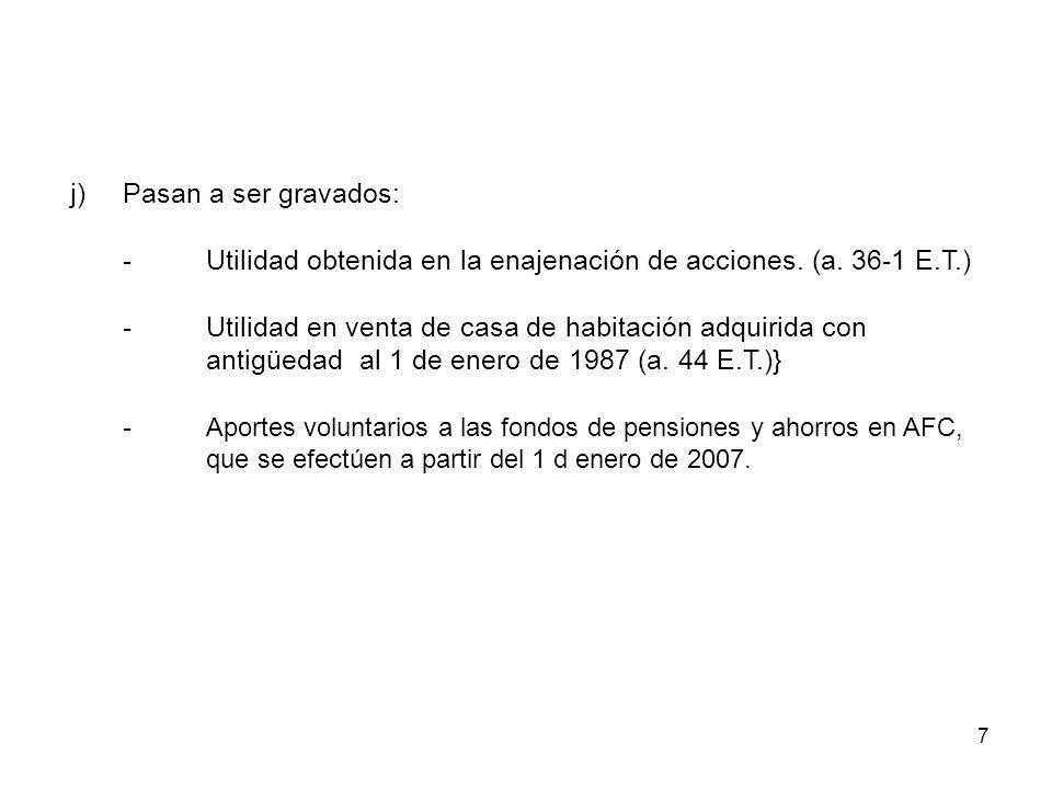 7 j)Pasan a ser gravados: -Utilidad obtenida en la enajenación de acciones. (a. 36-1 E.T.) -Utilidad en venta de casa de habitación adquirida con anti