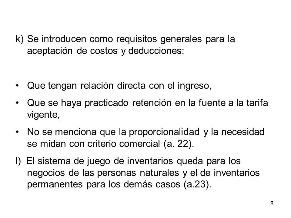 8 k)Se introducen como requisitos generales para la aceptación de costos y deducciones: Que tengan relación directa con el ingreso, Que se haya practi