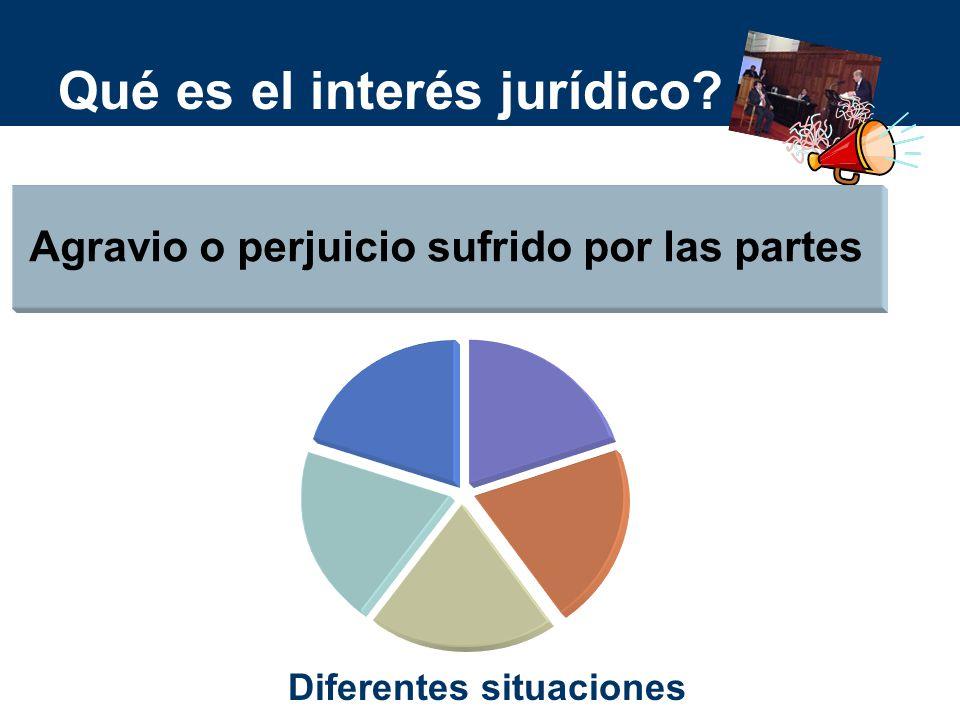 Qué es el interés jurídico? Agravio o perjuicio sufrido por las partes Diferentes situaciones