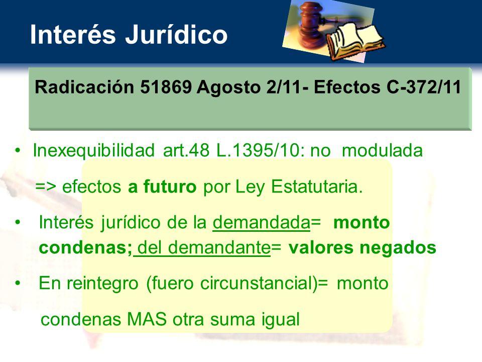 Interés Jurídico Radicación 51869 Agosto 2/11- Efectos C-372/11 Inexequibilidad art.48 L.1395/10: no modulada => efectos a futuro por Ley Estatutaria.